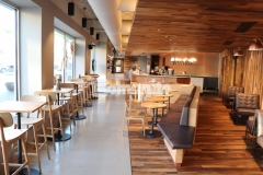 We installed this beautiful Bomanite Modena SL flooring to create an environmentally friendly decorative concrete overlay with a simple yet sophisticated finish that will withstand the heavy foot traffic inside this Starbucks coffeehouse.