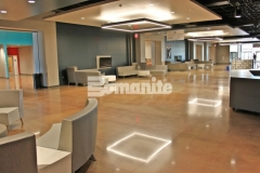 Bomanite Patene Teres and Bomanite Patene Artectura custom polished, decorative concrete was installed here to add breathtakingly beautiful architectural flooring that adds a warm, earthy, and inviting feel throughout the gathering spaces at Hope Fellowship Church.