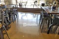 This stunning, high polish finish was created using the Bomanite Patene Teres Custom Polishing System and it is a perfect complement to the contemporary design inside the Northside Christian School and Frappe House at Cross City Christian Church.