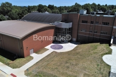 Harrisburg High School custom Bulldog Mascot Logo using Bomanite Exposed Aggregate Systems with Bomanite Alloy located in Harrisburg, IL.