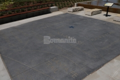 Bomanite Alloy Exposed Aggregate was installed here and features custom engraving that adds a beautiful artistic design element to this hardscape plaza.