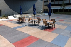 This stunning hardscape features Bomanite Sandscape Texture decorative concrete that was installed with a detailed stain pattern and perfectly complements the surrounding architecture while creating visual continuity throughout the space.