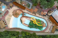 Harrington Bomanite installed Bomanite imprinted concrete at the Castaway Island water feature in Canobie Lake Park that features four different Bomacron patterns and serpentine drain runs that minimize runoff while adding beautiful aesthetic appeal.