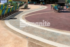 Bomanite Imprint Systems were used here with multiple Bomacron patterns including Garden Stone, Boardwalk, Sandstone Texture, and Slate Texture and the combination of pattern and texture adds beautiful and distinctive detail to this decorative concrete hardscape.