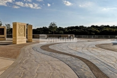Bomanite Imprint Systems with Erosion Series Textured Concrete in the Shifting Sand pattern was stamped here to create a beautiful decorative concrete hardscape.