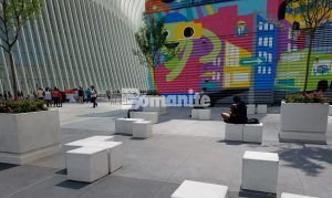 View of seating area at the World Trade center with Bomanite Exposed Aggregate usind Bomanite Alloy decorative concrete in the award winning street design.