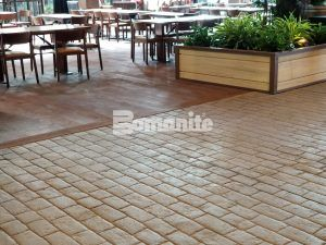 A close of the decorative concrete including Bomanite Imprint and Bomanite Sandscape Texture at the Gaylord Rockies Resort and Convention Center in Aurora, CO installed by Colorado Hardscapes.